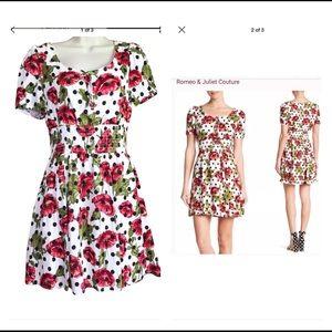 Romeo & Juliet polka dots flowers dress size XS